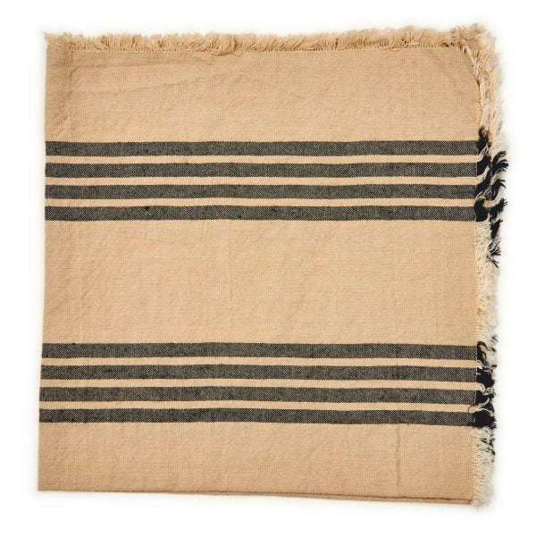 Striped Fringe Napkins - Black