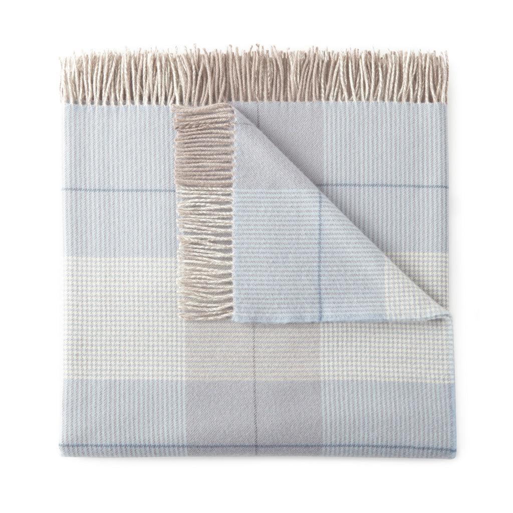 Peacock Alley - York Plaid Throw - Blue