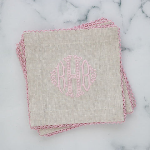 Picot Edge Cocktail Napkins - Set of 4