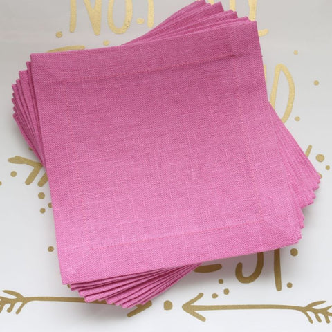 Plain Hem Cocktail Napkins - Central New Pink
