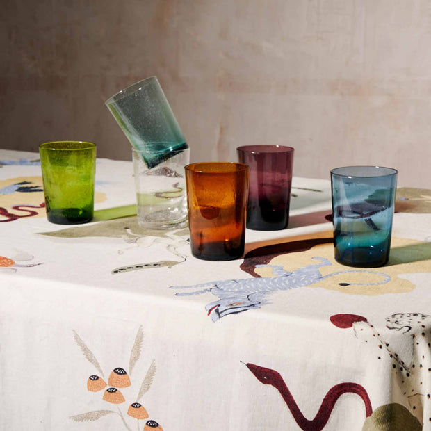 French Turquoise Handblown Coloured Glass Tumblers - Set of 6