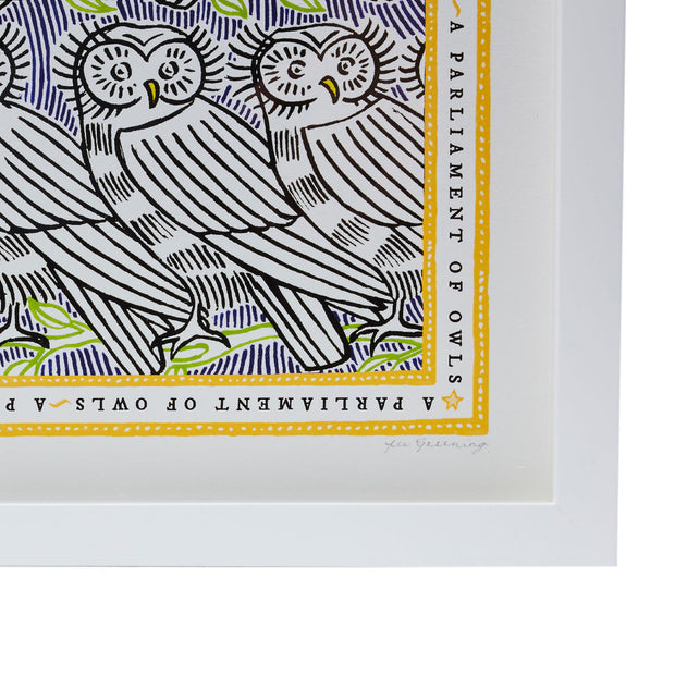 Signed Collective Noun Print- A Parliament of Owls - POLKRA