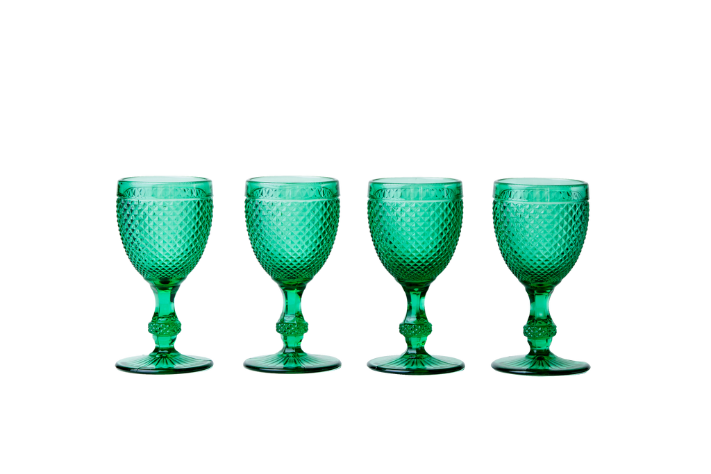 Red Wine Glass Set - Green