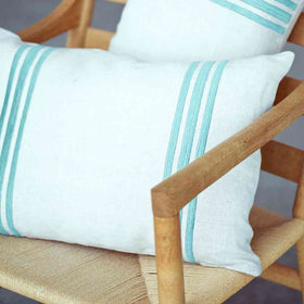 Linden Cushion - Green Double Stripe