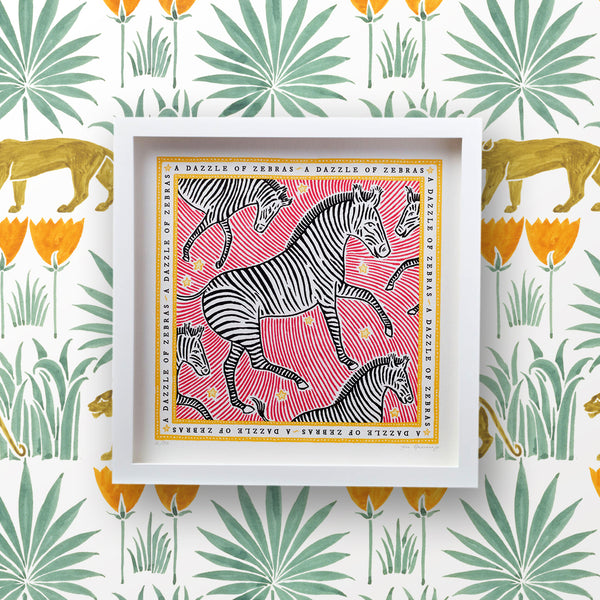 Signed Collective Noun Print - A Dazzle of Zebras - POLKRA