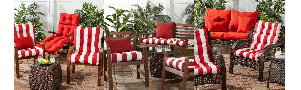 Cabana Red Stripe Outdoor Bench Chair Cushion