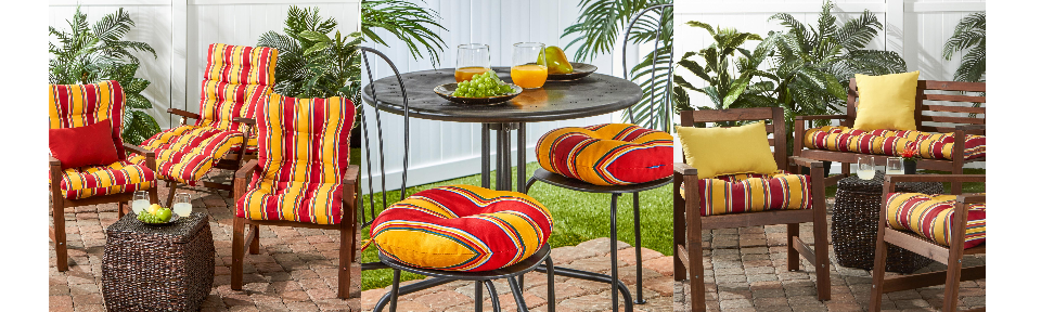 Carnival Stripe Outdoor Chair Bench Cushion