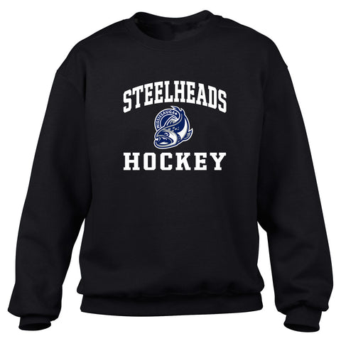 Mississauga Steelheads Adult Black Crewneck Sweatshirt – Design 27