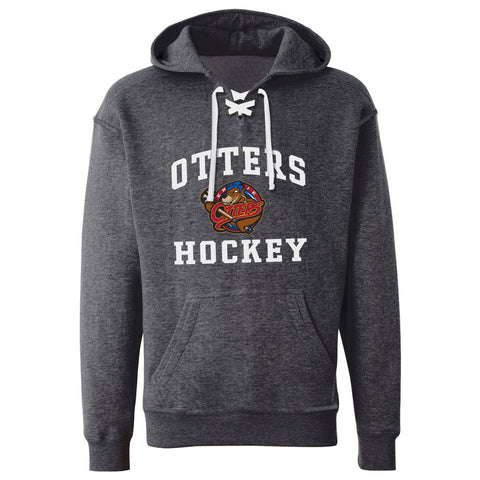 Erie Otters Adult Charcoal Hockey Lace Hoody - Design 27
