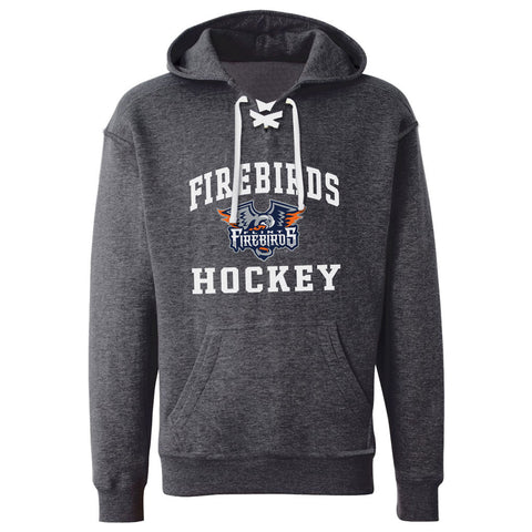 Flint Firebirds Adult Charcoal Hockey Lace Hoody - Design 27