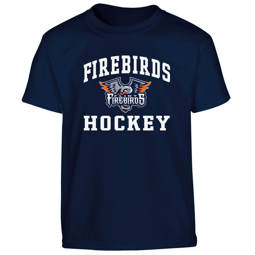 Flint Firebirds Heat Transfer Youth T Shirt 027 Navy