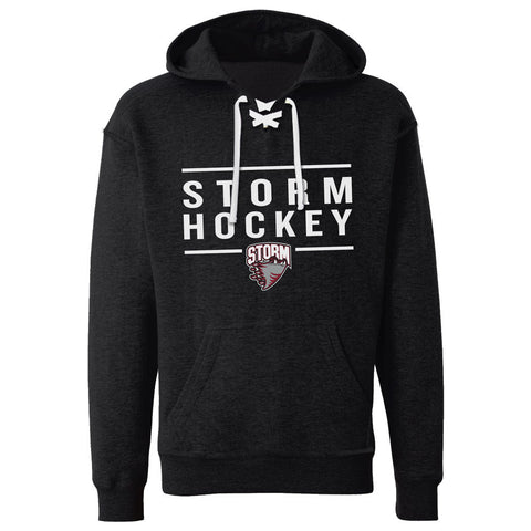Guelph Storm Adult Black Lace Hoodie - Design 24
