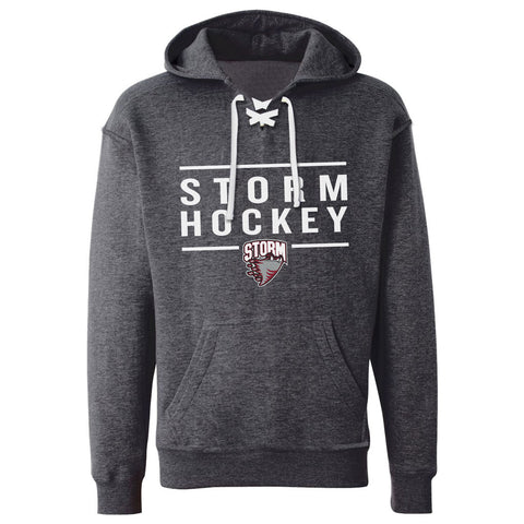 Guelph Storm Adult Charcoal Lace Hoodie - Design 24
