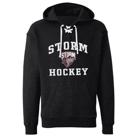 Guelph Storm Adult Black Lace Hoodie - Design 27