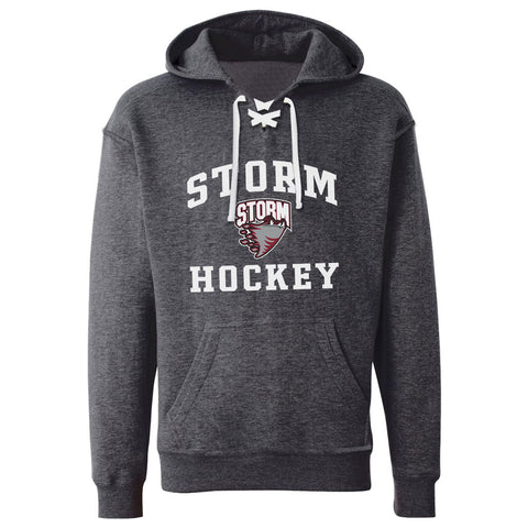 Guelph Storm Adult Charcoal Hockey Lace Hoody - Design 27