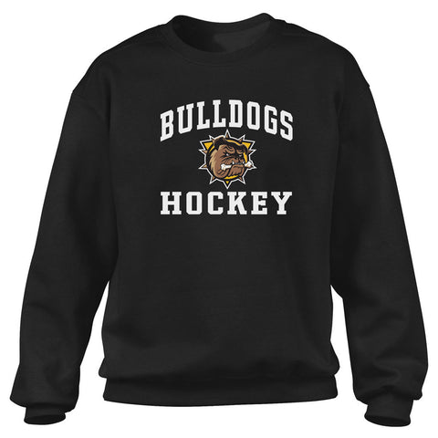 Hamilton Bulldogs Adult Black Crewneck Sweatshirt - Design 27