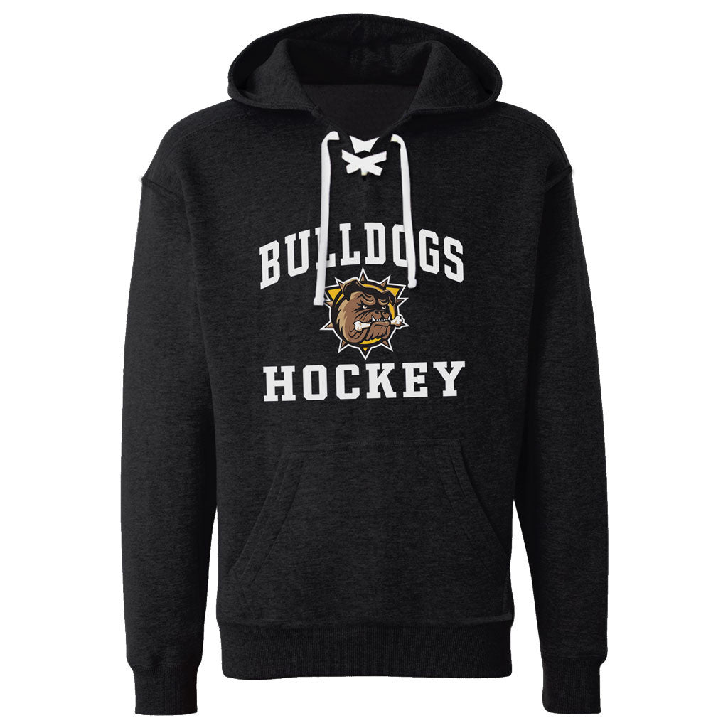 Hamilton Bulldogs Adult Black Hockey Lace Hoody - Design 27