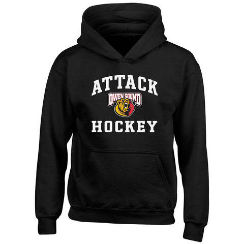 Youth Owen Sound Attack Black Hoody - Design 27