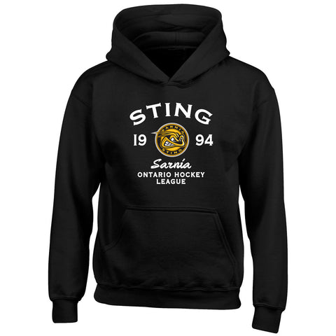 Youth Sarnia Sting Black Hoody - Design 8