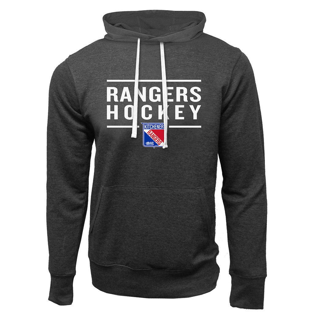 Kitchener Rangers Adult Charcoal Heather French Terry Fashion Hoody - Design 24