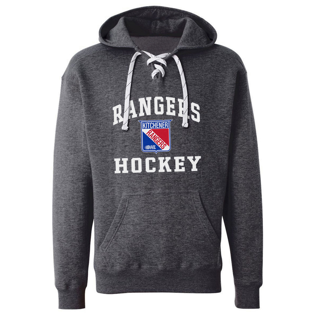 Kitchener Rangers Adult Charcoal Hockey Lace Hoody - Design 27