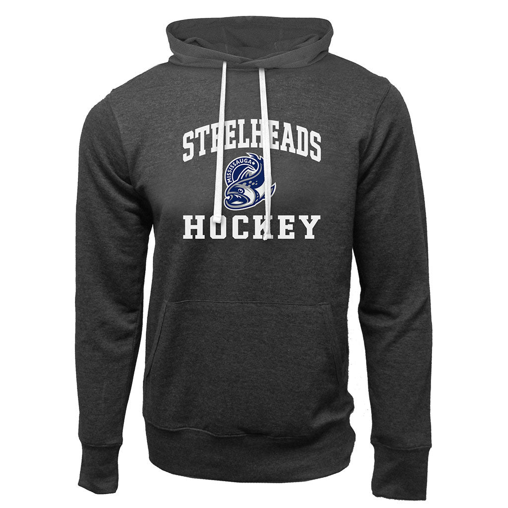 Mississauga Steelheads Adult Charcoal Heather French Terry Fashion Hoody - Design 27