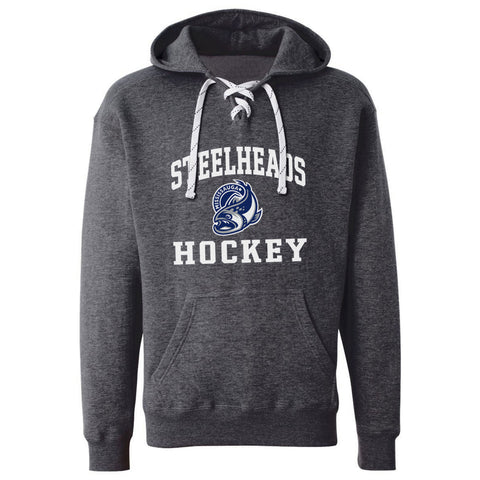 Mississauga Steelheads Adult Charcoal Hockey Lace Hoody - Design 27