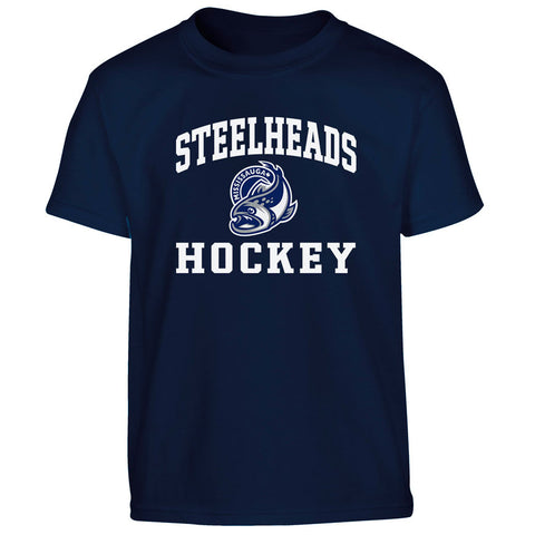 Mississauga Steelheads Heat Transfer Youth T Shirt 027 Navy