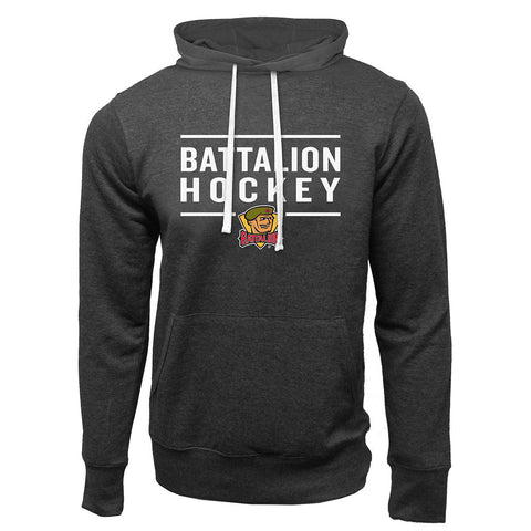 North Bay Battalion Adult Charcoal Heather French Terry Fashion Hoody - Design 24