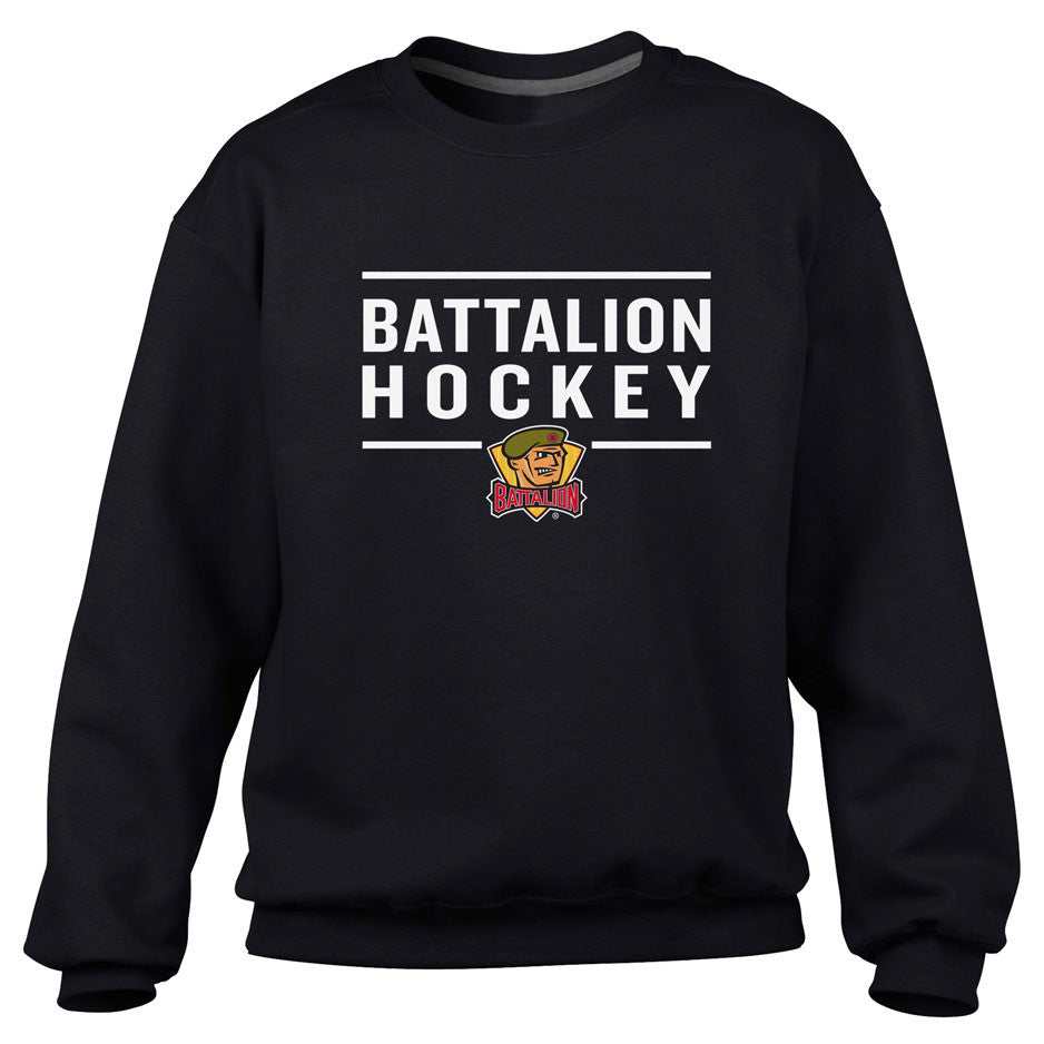 North Bay Battalion Adult Black Crewneck Sweatshirt – Design 24