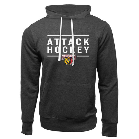 Owen Sound Attack Adult Charcoal Heather French Terry Fashion Hoody - Design 24