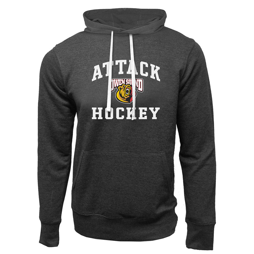 Owen Sound Attack Adult Charcoal Heather French Terry Fashion Hoody - Design 27