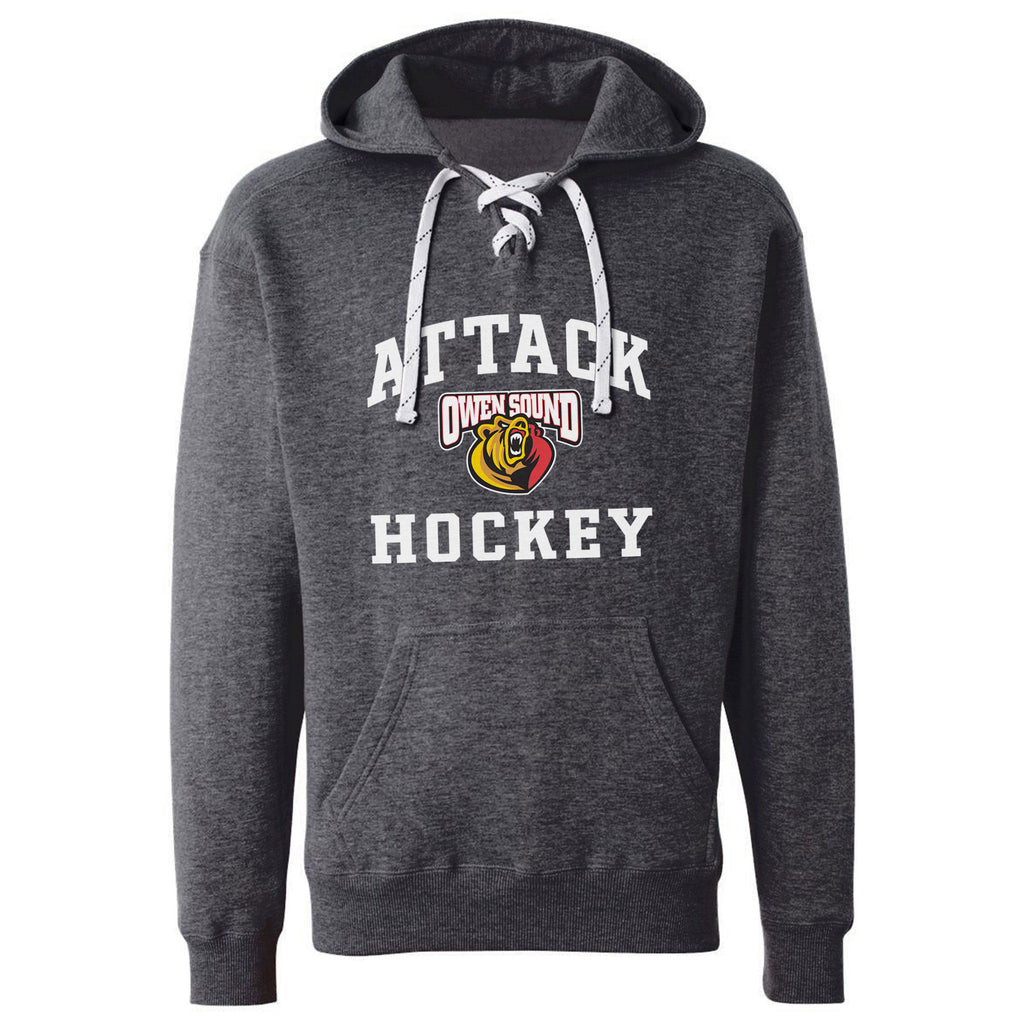 Owen Sound Attack Adult Charcoal Hockey Lace Hoody - Design 27