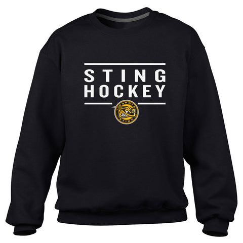 Sarnia Sting Adult Black Crewneck Sweatshirt – Design 24