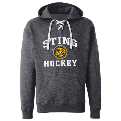 Sarnia Sting Adult Charcoal Hockey Lace Hoody - Design 27