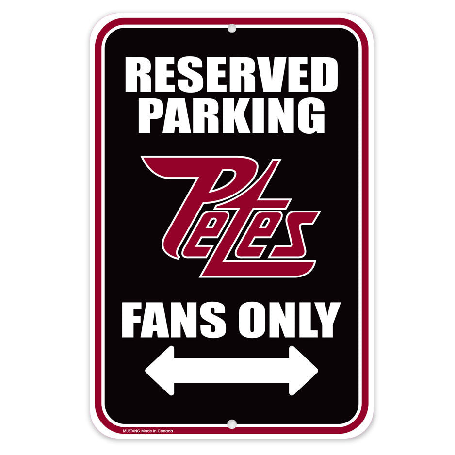 Peterborough Petes Parking Sign