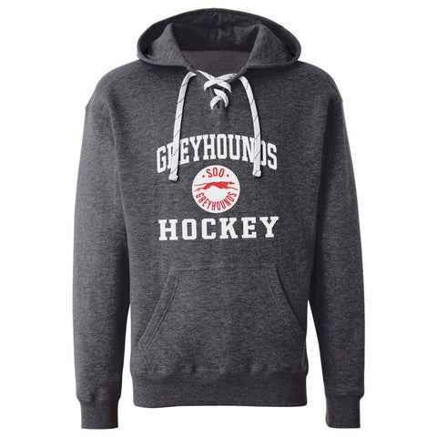 SSM Greyhounds Adult Charcoal Hockey Lace Hoody - Design 27