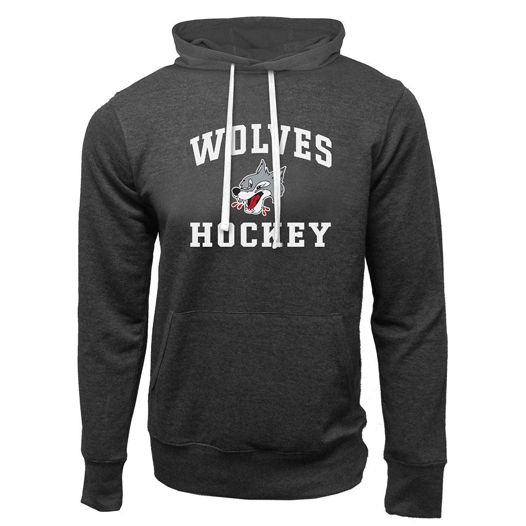 Sudbury Wolves Adult Charcoal Heather French Terry Fashion Hoody - Design 27