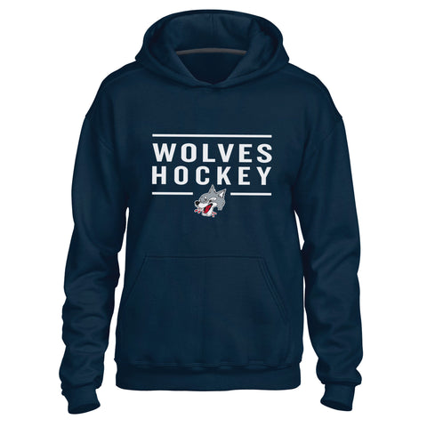 Sudbury Wolves Adult Navy Hoody - Design 24