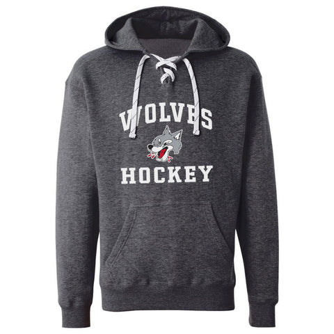 Sudbury Wolves Adult Charcoal Hockey Lace Hoody - Design 27