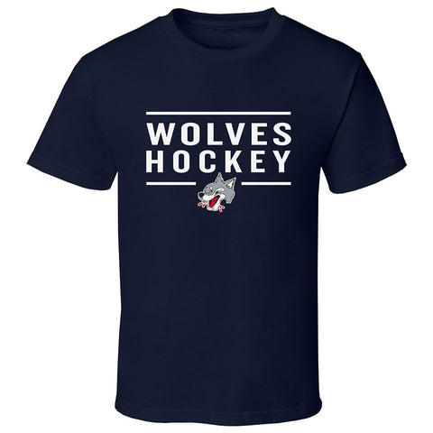 Sudbury Wolves Adult Navy Short Sleeve T Shirt - Design 24
