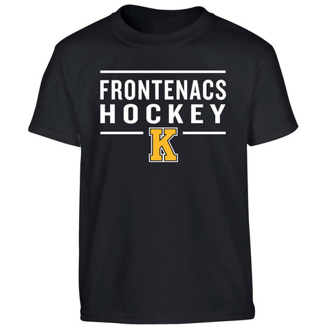 Youth Kingston Frontenacs Black T Shirt - Design 24