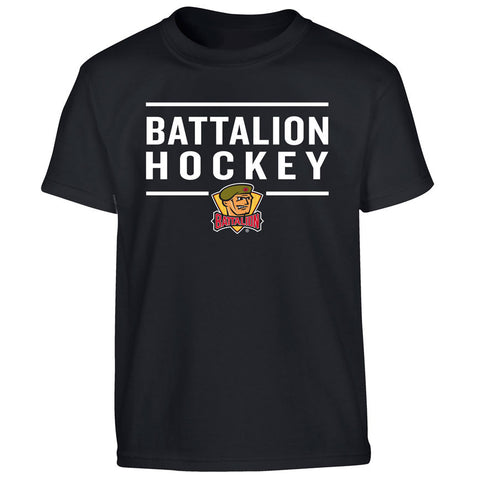 Youth North Bay Battalion Black T Shirt - Design 24