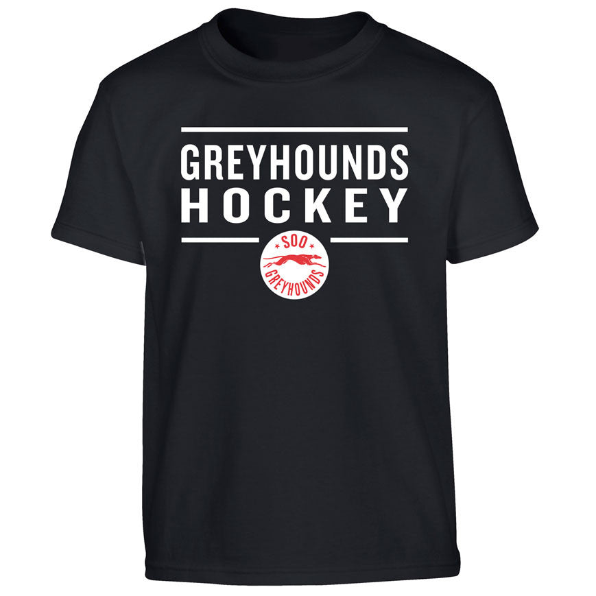 Youth SSM Greyhounds Black T Shirt - Design 24