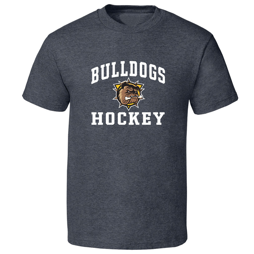 Hamilton Bulldogs Adult Charcoal Heather Short Sleeve T Shirt - Design 27