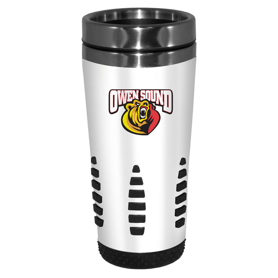 Owen Sound Attack - 16oz. White Travel Mug Huntsville