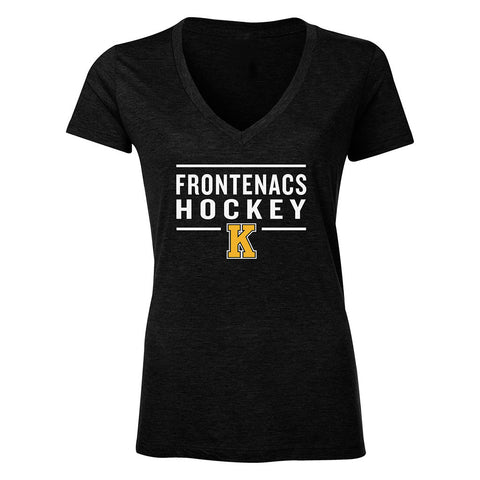 Kingston Frontenacs Ladies Tri-Blend Charcoal/Black T-Shirt - Design 24