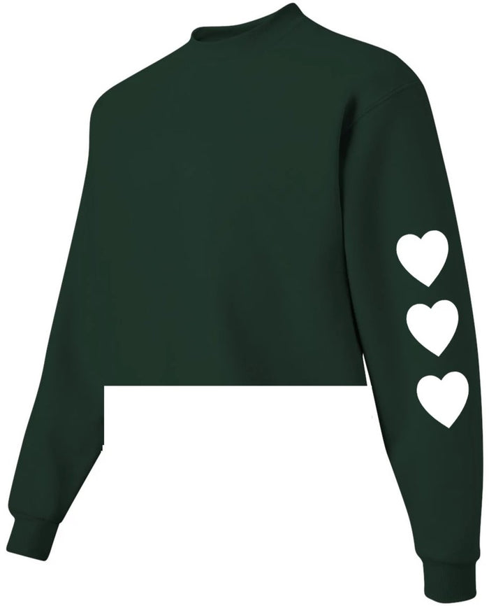 Wild At Heart Green Raw Hem Cropped Sweatshirt with White Hearts