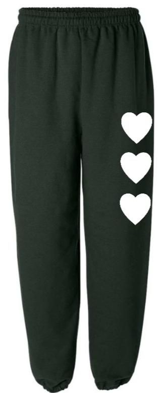 Wild At Heart Green Sweatpants with White Hearts