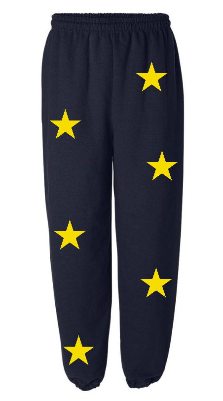 Star Power Navy Sweatpants with Yellow Stars